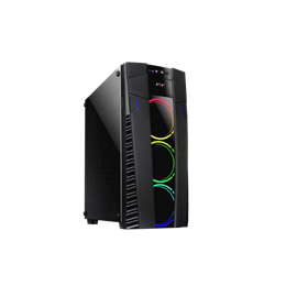 CASE MIDI ATX  COLORE NERO,  USB2, USB3, CARDREADER, TRE VENTOLE LUMINOSE RAIBOW ANTERIORI, SLOT DVD