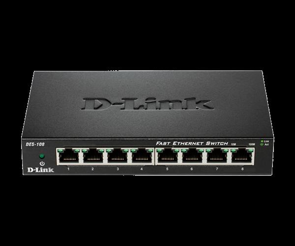 SWITCH D-LINK DES-108 METAL 10/100 MB 8 PORTE